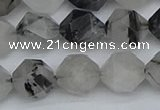 CNG7247 15.5 inches 10mm faceted nuggets black rutilated quartz beads