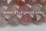 CNG7257 15.5 inches 10mm faceted nuggets strawberry quartz beads
