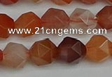 CNG7282 15.5 inches 10mm faceted nuggets red rabbit hair quartz beads