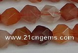 CNG7283 15.5 inches 12mm faceted nuggets red rabbit hair quartz beads