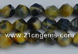 CNG7310 15.5 inches 6mm faceted nuggets golden & blue tiger eye beads