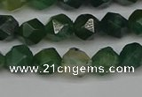 CNG7336 15.5 inches 8mm faceted nuggets moss agate beads