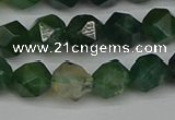 CNG7337 15.5 inches 10mm faceted nuggets moss agate beads