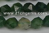 CNG7338 15.5 inches 12mm faceted nuggets moss agate beads