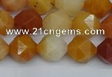 CNG7361 15.5 inches 8mm faceted nuggets yellow jade beads