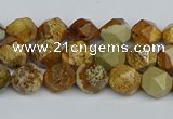 CNG7375 15.5 inches 6mm faceted nuggets picture jasper beads