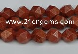 CNG7400 15.5 inches 6mm faceted nuggets goldstone beads