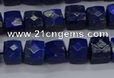 CNG7489 15.5 inches 8*8mm faceted nuggets lapis lazuli beads