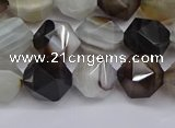 CNG7501 15.5 inches 6mm faceted nuggets line agate beads