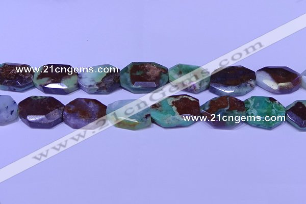 CNG7518 25*35mm - 30*40mm faceted freeform australia chrysoprase beads