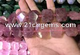 CNG7564 18*25mm - 20*28mm faceted freeform strawberry quartz beads