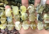 CNG7761 13*18mm - 15*25mm faceted freeform yellow opal beads