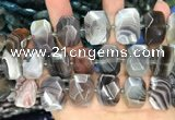 CNG7773 13*18mm - 15*25mm faceted freeform Botswana agate beads