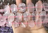 CNG7776 13*18mm - 15*25mm faceted freeform rose quartz beads