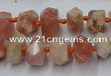 CNG7853 15.5 inches 6*10mm - 8*12mm faceted nuggets sunstone beads