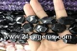 CNG7869 13*18mm - 18*25mm faceted freeform black tourmaline beads