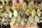 CNG7876 13*20mm - 15*25mm faceted freeform yellow opal beads