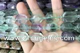 CNG7890 13*18mm - 18*25mm faceted freeform fluorite beads