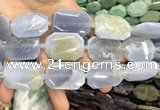 CNG7916 22*30mm - 25*35mm faceted freeform blue chalcedony beads
