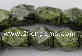 CNG835 15.5 inches 13*18mm faceted nuggets green lace gemstone beads
