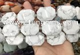 CNG8556 22*30mm - 25*35mm faceted freeform white howlite beads