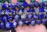 CNG8601 12*16mm - 13*18mm faceted nuggets lapis lazuli beads