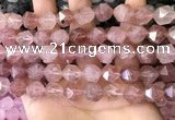 CNG8697 15.5 inches 10mm faceted nuggets strawberry quartz beads