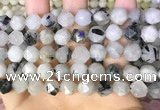 CNG8734 15.5 inches 10mm faceted nuggets black rutilated quartz beads