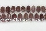 CNG8900 10*25mm - 14*30mm faceted nuggets strawberry quartz beads