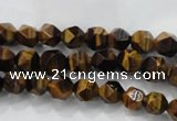 CNG935 15 inches 6mm faceted nuggets yellow tiger eye beads