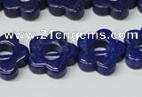 CNL1310 15.5 inches 16mm carved flower natural lapis lazuli beads