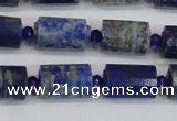 CNL1606 15.5 inches 10*15mm faceted tube lapis lazuli gemstone beads