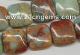 CNS106 15.5 inches 18*18mm square natural serpentine jasper beads