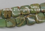 CNS140 15.5 inches 12*12mm square natural serpentine jasper beads