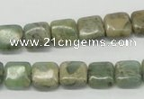 CNS15 16 inches 10*10mm square natural serpentine jasper beads