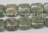 CNS16 16 inches 14*14mm square natural serpentine jasper beads