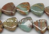 CNS184 15.5 inches 16*16mm triangle natural serpentine jasper beads