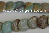 CNS191 15.5 inches 14mm flat round natural serpentine jasper beads