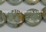 CNS233 15.5 inches 20mm flat round natural serpentine jasper beads