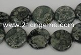 CNS420 15.5 inches 14mm flat round natural serpentine jasper beads