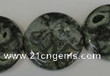 CNS425 15.5 inches 30mm flat round natural serpentine jasper beads