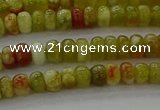 CNS609 15.5 inches 2.5*4mm rondelle green dragon serpentine jasper beads