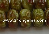 CNS616 15.5 inches 12*18mm rondelle green dragon serpentine jasper beads