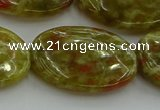 CNS637 15.5 inches 22*30mm oval green dragon serpentine jasper beads