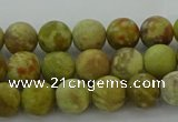 CNS650 15.5 inches 6mm round matte green dragon serpentine jasper beads