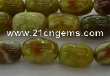 CNS661 15.5 inches 8*12mm drum green dragon serpentine jasper beads