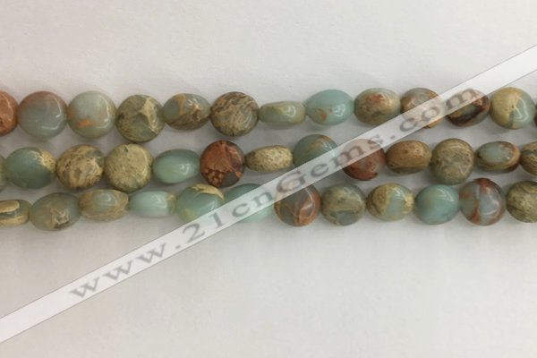 CNS719 15.5 inches 8mm flat round serpentine jasper beads wholesale