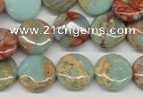 CNS80 15.5 inches 14mm flat round natural serpentine jasper beads