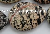 COB158 15.5 inches 30*40mm flat teardrop snowflake obsidian beads