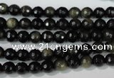 COB263 15.5 inches 6mm faceted round golden obsidian beads